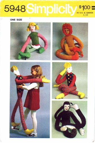Simplicity 5948 Vintage Sewing Pattern Dance Partner Toys Dolls Monkey