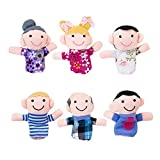 Super Z Outlet Mini Grandparents, Mom & Dad, Brother & Sister Family Style Finger Puppets for Children, Shows, Playtime, Schools - 6 Piece (Color: Assorted, Tamaño: 2