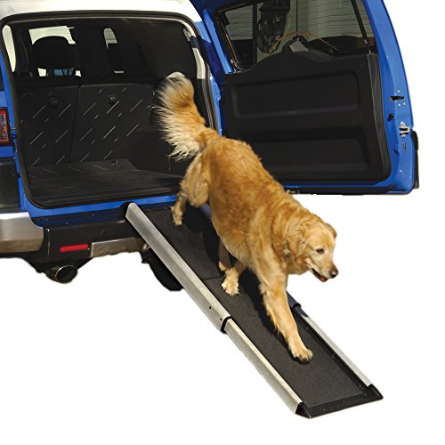 """Smart Telescoping 70"""" Pet Ramp - Holds Up To 250 Lbs - For Large Or Small Pets - Extends 42"""" To 70"""" - Shur-Foot Tread Surface Ramps For Dogs Or Cats - Use For Cars, Suv, Trucks, Lorry"""