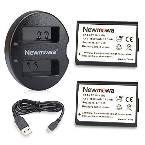 Newmowa LP-E10 batterie (confezione da 2) e Caricatore USB doppio per Canon NB-CB-12 l, 2LG e Canon LEGRIA mini, X PowerShot N100, PowerShot G1 X Mark II