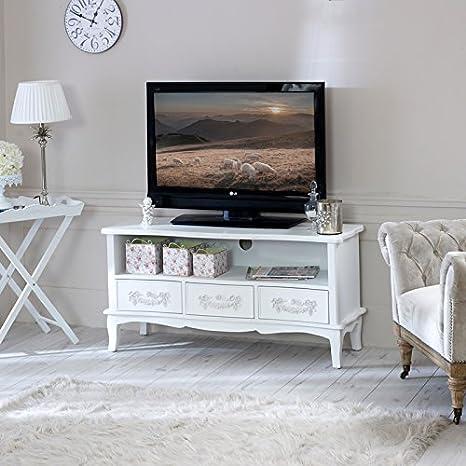 Pays Blanc-Blanc Antique Range Meuble TV à tiroirs