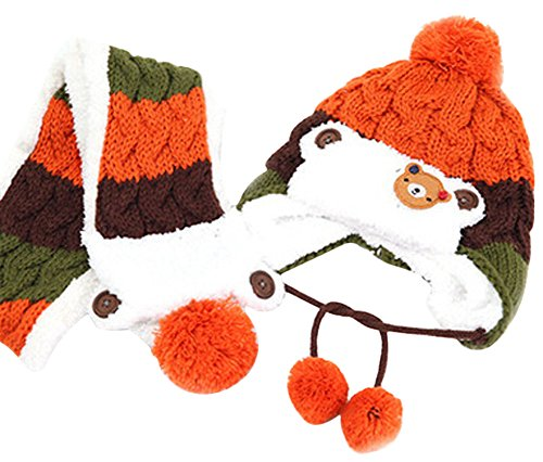 EachWell Cute Unisex Baby Warm Thick Acrylic Hat/Scarf Set Caps Christmas Gift Orange (Toddler Sun Har compare prices)