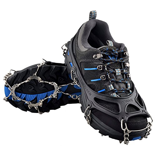 OuterStar Traction Cleats Ice Snow Grips Anti Slip 12 Stainless Steel Spikes Crampons for Footwear (Black, Large) (Hitech Shoes compare prices)