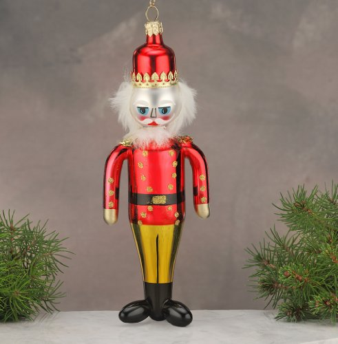 De Carlini Red Nutcracker Soldier Italian Glass Christmas Ornament