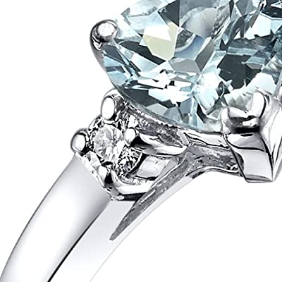 Revoni 14ct White Gold Aquamarine Diamond Heart Ring 0.75 Carat