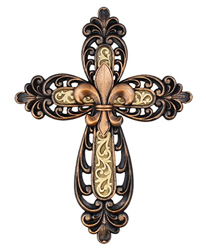 Ornate Fleur De Lis Layered Wall Cross Decorative Scrolly Details