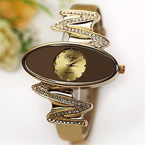 Retro Gold Leather Strap Brand Women Watch Strass Rhinestone Jewelry Quartz Wrist Watches 2