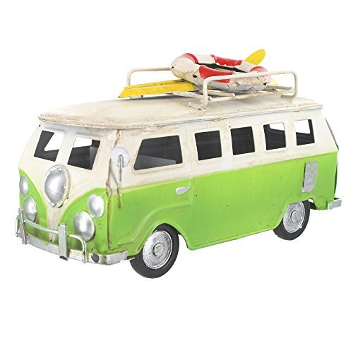 Retro Small Shabby Chic Camper Van With Surfboard And Life Belt On Roof Rack - Green