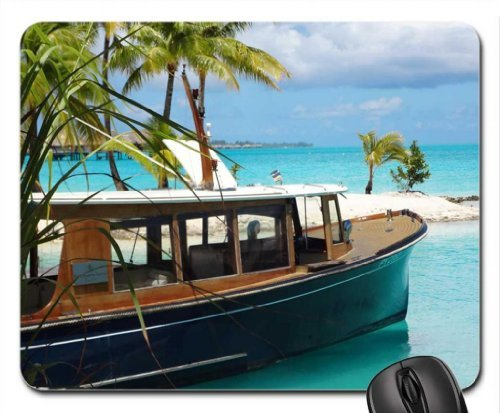 Four Seasons Resort Boat at Tropical Paradise Island Bora Bora Polynesia Mouse Pad, Mousepad (Beaches Mouse Pad)