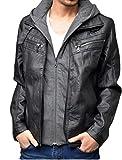 レザージャケット メンズ 大きいサイズ フード付き ライダースジャケット 3L ブラック(09)