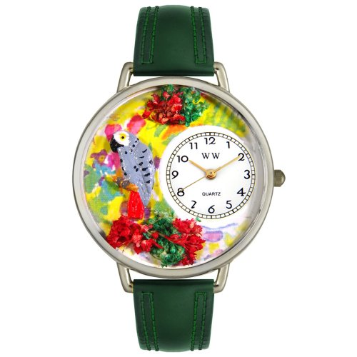 Whimsical Watches Unisex U0150013 African Gray Parrot Hunter Green Leather Watch