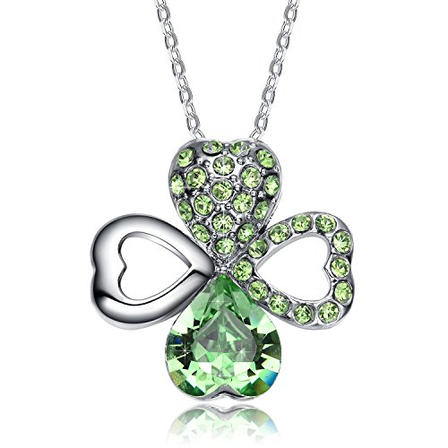 NEEMODA-Happy-Love-Austrian-Crystal-Heart-Clover-Pendant-Necklace-Triple-Gold-Plated-with-Deluxe-Box
