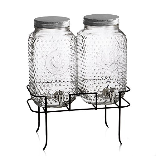 Style Setter Rooster Dispensers with Stand and Galvanized Lids (Set of 2), Clear (Drink Dispenser Set Of Two compare prices)