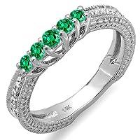 0.45 Carat (ctw) 14k White Gold Round Green Emerald And White Diamond Ladies Anniversary Wedding Band Guard Enhancer Ring 1/2 CT from DazzlingRock
