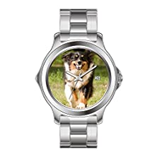 buy Fdc Christmas Gift Watches Women'S Fashion Japanese Quartz Date Stainless Steel Bracelet Watch Australian Shepherd Playing With Ball Wrist Watch