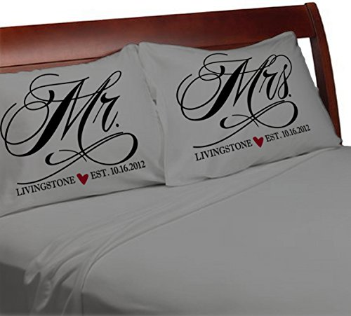 Mr and Mrs Pillowcases Wedding Anniversary Engagement Gift Idea for Husband Wife Newlyweds Bride and Groom Him (Charcoal-Personalized, Standard)