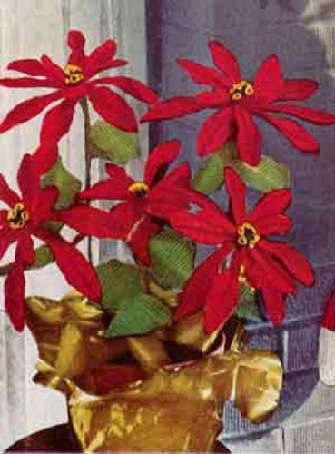 Poinsettia Plant Crochet Christmas Pattern - Vintage Christmas Pattern