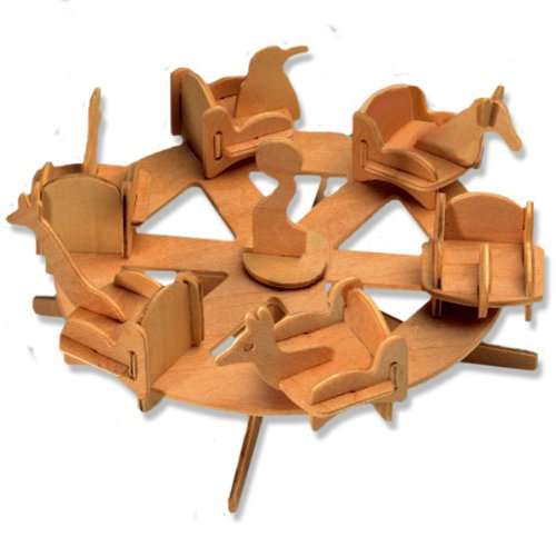 3-D Wooden Puzzle - Small Roundabout -Affordable Gift for your Little One! Item #DCHI-WPZ-P032