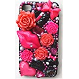 EVTECH(TM) Elegant Red Lip Makeup Series Luxury 3D Bling Colorful Diamond Crystal Vintage Style Black Back Cover Case for iPhone 4 / 4S T-Mobile Sprint AT&T Verizon(100% Handcrafted)