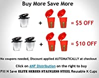 Fill N Save GOLD SERIES 24K Gold Reusable Carafe K-Cups [2 Pack]. Reusable coffee filter for the Keurig 2.0, K200, K300, K400, K500 Series of Machines (Gold Filter)