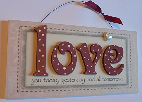 Love You Gift Wooden Keepsake Plaque Valentines (All tomorrows rect with heart)