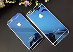 Electroplated Mirror Front + Back Tempered Glass Screen Protector for Apple Iphone 6 6S - Blue