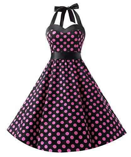 Dresstells Vintage 1950s Rockabilly Polka Dots Audrey Dress Retro Cocktail Dress Black Pink Dot M