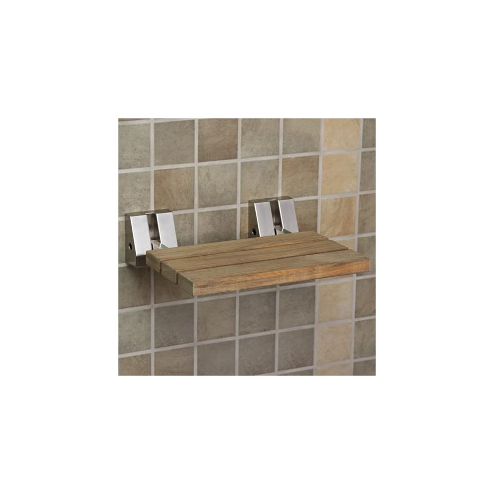Wall Mount Teak Folding Shower Seats   Brushed Nickel