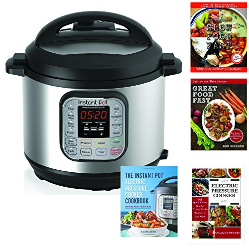 Instant Pot IP-DUO60 7-in-1 Multi-Functional Electric Pressure Cooker, 6Qt/1000W with 4 cookbooks