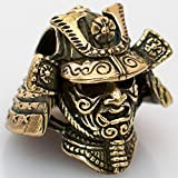 Paracord/Lanyard Bead in Brass for Jig Pro Shop by Russki Designs (Samurai Helmet (Brass)) (Color: Samurai Helmet (Brass), Tamaño: Predator)