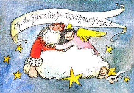 Janosch WeihnachtsPOSTkarte Weihnachtsmann und Engel auf Wolke
