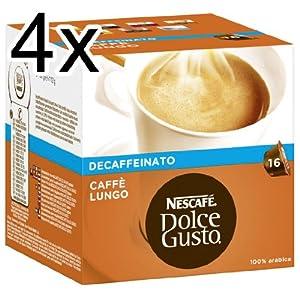 Purchase Nescafé Dolce Gusto Caffè Lungo Decaffeinato, Pack of 4, 4 x 16 Capsules from Nestlé