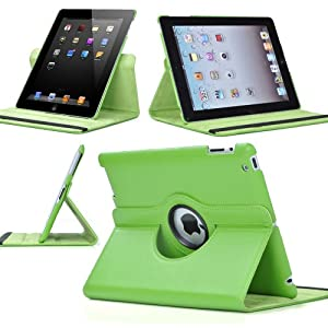 Ctech 360 Degrees Rotating Stand Green Leather Smart Cover Case For Apple Ipad 2 With Wake/sleep Capability