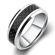 8mm White Titanium Ring with Black Ca…