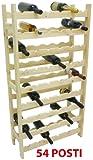 Mobile porta bottiglie cantinetta vino in legno Naturale 54 posti per enoteca cantina salotto portabottiglie