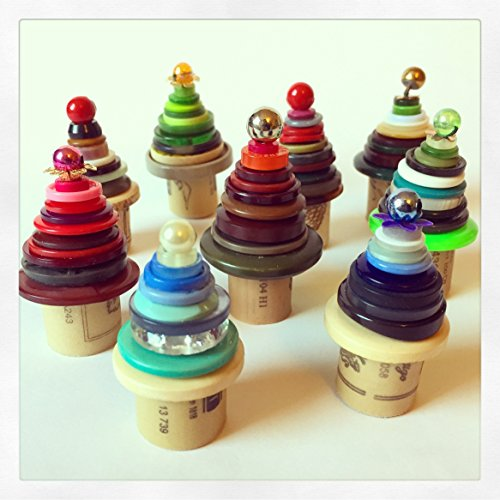 tiny-button-trees-upcycled-buttons-and-wine-cork-ornamental-christmas-trees-x2-x4-or-x6