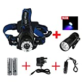 GRDE™ 1800 Lumens CREE XM-L T6 U2 LED Waterproof 3 Modes Design Zoomable Rotating Headlamp CREE LED Headlight 18650 Rechargeable Battery Head LED Torch Flashlight with Charger and 2 x WindFire 4000mAh Rechargeable Batteries Portable LED Headlamp for For O