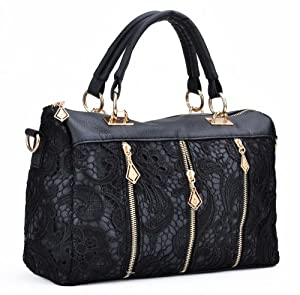 Moonar Lace Zipper Decoration Retro Handbags Shoulder Bags (Black)