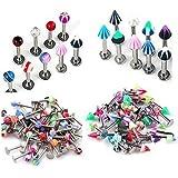 100PCS set 16g UV Labret Lip Tragus Bars Barbell Rings Body Jewelery for Girl