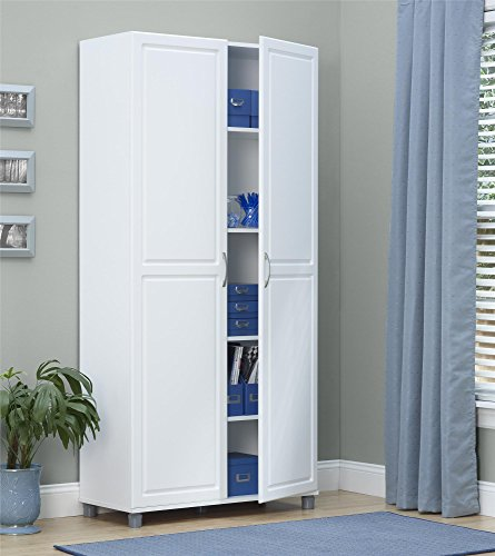 tall storage cabinet white double door utility kitchen garage pantry organizer ebay. Black Bedroom Furniture Sets. Home Design Ideas