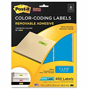 Post-it Super Sticky Removable Color Coding Labels, 1 Inch x 2 5/8-Inch, Assorted Neon, Laser, 450 Labels per Pack (2700-P)