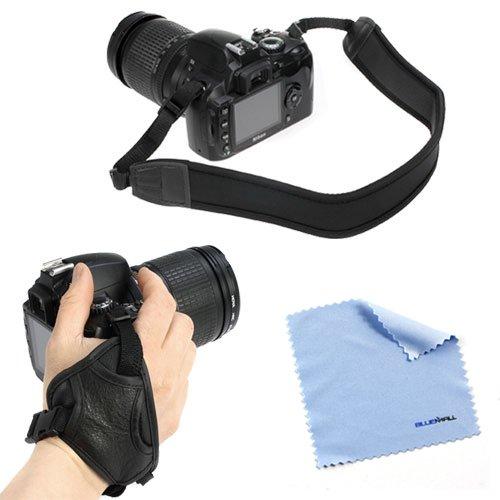 Birugear Black Anti-Slip Neoprene Camera Shoulder/Neck Strap Belt + Heavy Duty Stabilizing Hand Grip Strap + Cloth For Nikon P530, Fujifilm Finepix S9400W S9200 S8600 S6800, S1, X100S, S8200, S4200, S4500, Sl300, S3200, Hs50Exr, Hs20Exr, S2950, S2800Hd, P