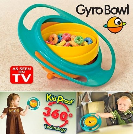 Gyro Bowl- Spill Resistant Kids Gyroscopic Bowl with Lid - 1