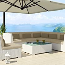 Hot Sale Uduka Outdoor Sectional Patio Furniture White Wicker Sofa Set Luxor Light Beige All Weather Couch