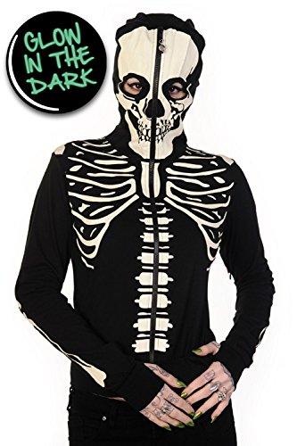Gebannt Glow In The Dark-Skelett-Hand Hoodie - UK 10 / US 6 / EU 36