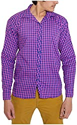 Oshano Men's Casual Shirt (OSH_010_s, Blue and Pink, s) Shipping Charges 400