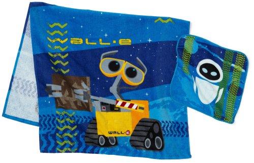 Wall-E 2-Piece Bath/Wash Fiber Reactive Print Towel Set with Sound Lights