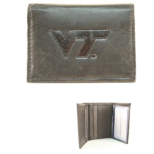NCAA Officially Licensed Genuine Leather Tri-Fold Wallet -Black