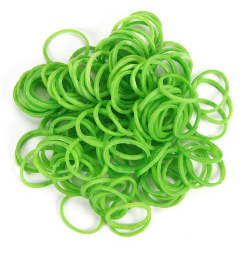 WeGlow International Stretch Band Bracelet Loops and S-Clips (900 Loops and 36 S-Clips), Kelly Green - 1