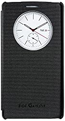 TOS Premium Luxury Leather Quick Circle Window Flip Cover LG G4 /LG G4 Stylus (Black)